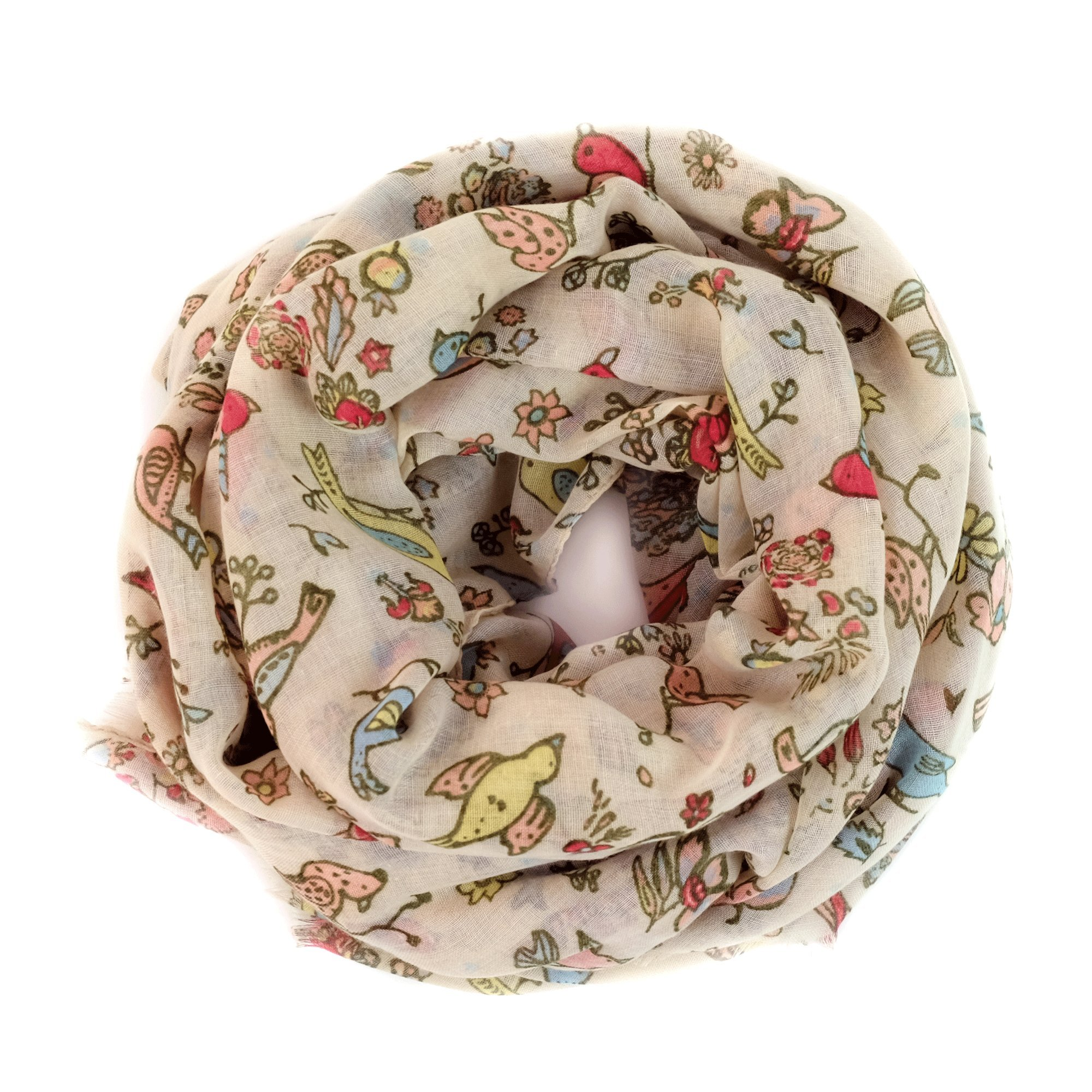 Scarves for Women: Lightweight Cute Bird Floral Fashion shawl by MIMOSITO (Beige)