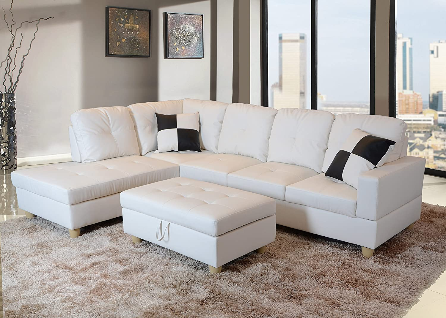 Amazon.com: Lifestyle Sectional Sofa Set In White Faux Leather Comes With  Storage Ottoman And 2 Square Pillows (Right Sofa F92A): Kitchen U0026 Dining
