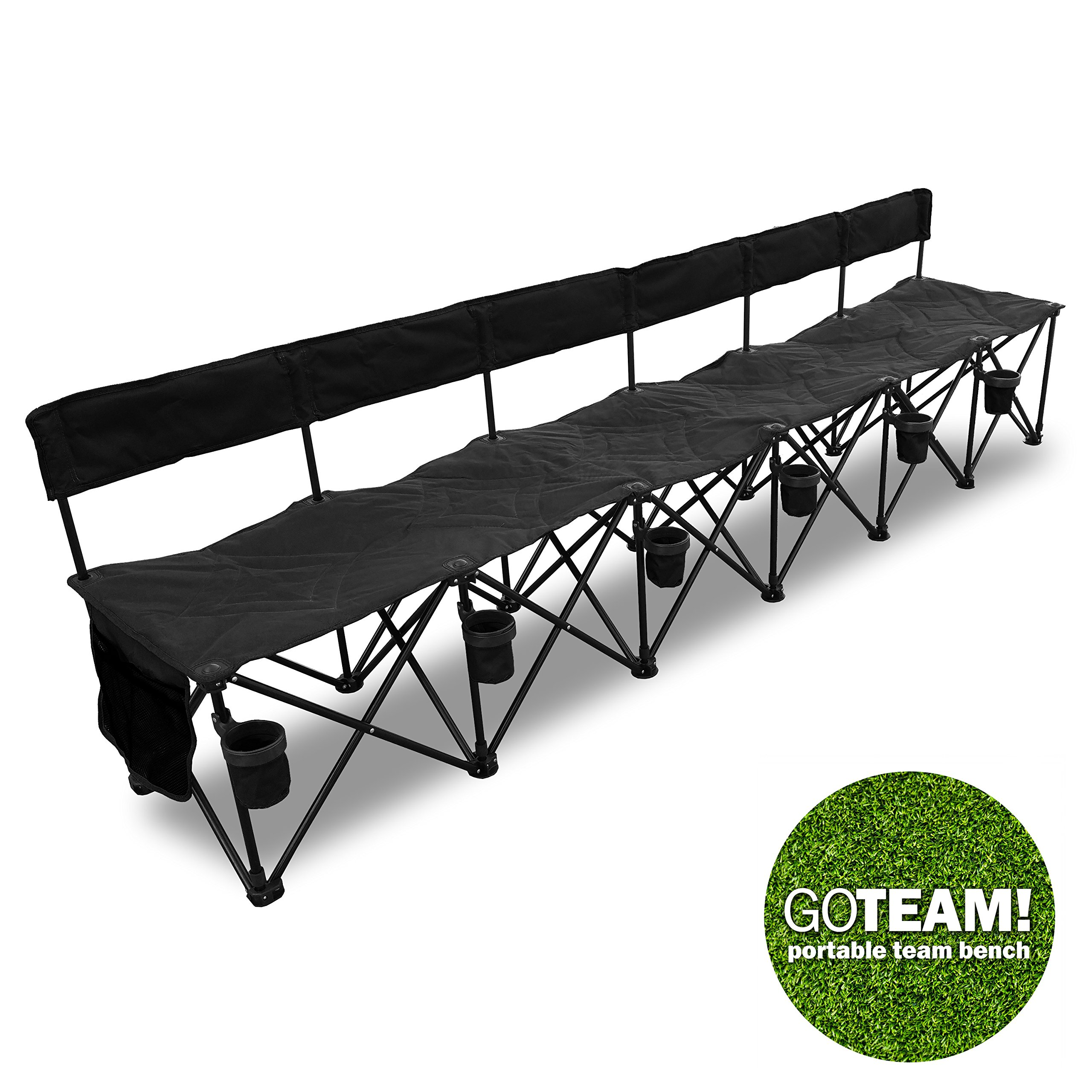 GoTeam! Pro 6 Seat Portable Folding Team Bench - Black by GoTeam