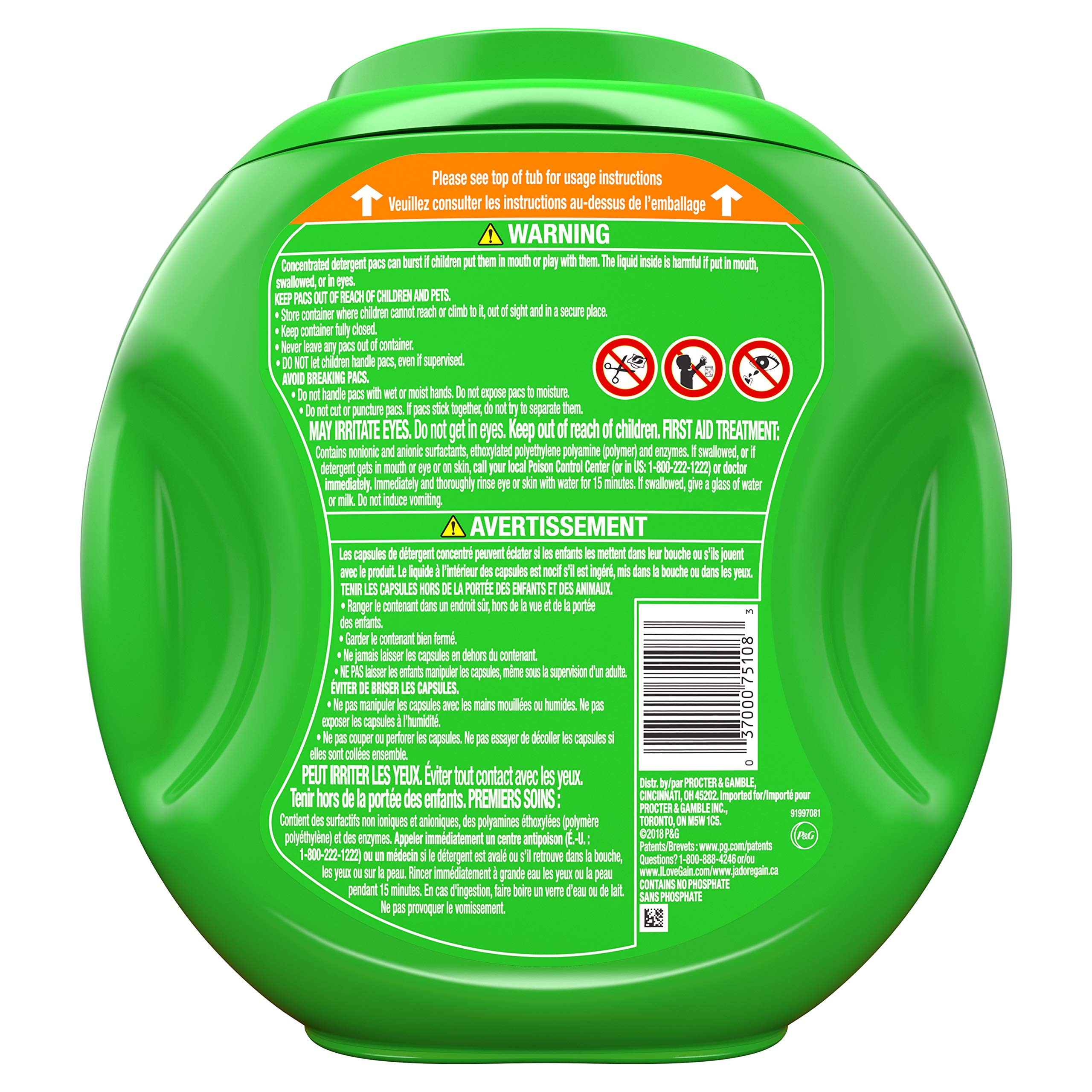 Gain flings! Laundry Detergent Pacs plus Aroma Boost, Island Fresh Scent, HE Compatible, 81 Count (Packaging May Vary) by Gain (Image #2)