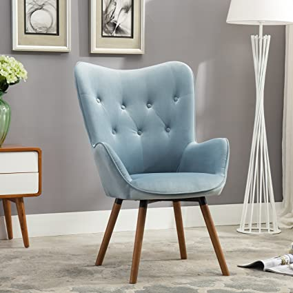 Roundhill Furniture Doarnin Contemporary Silky Velvet Tufted Button Back Accent  Chair, Blue