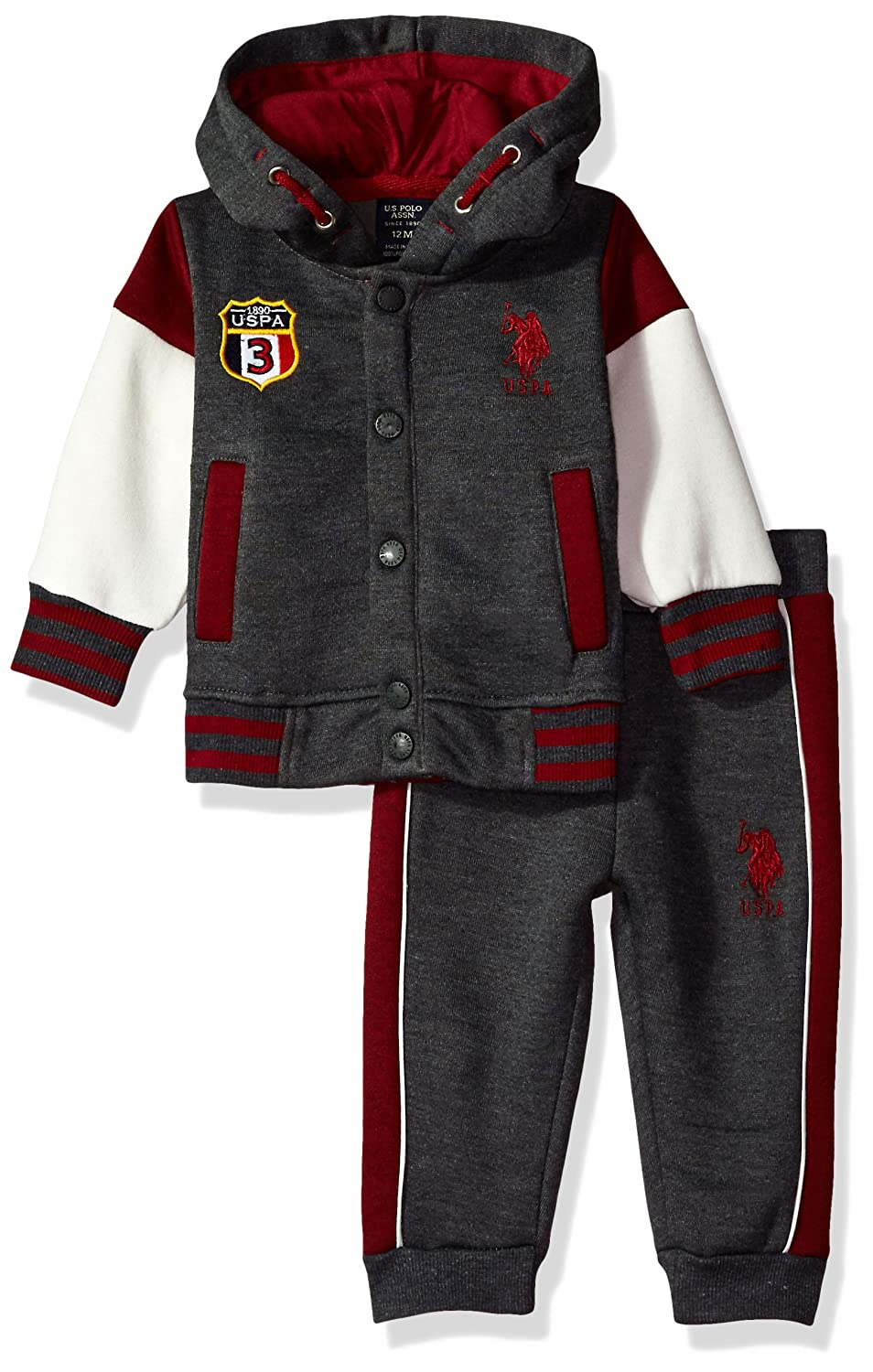 U.S Polo Assn Baby Boys 2 Piece Fleece Jog Set