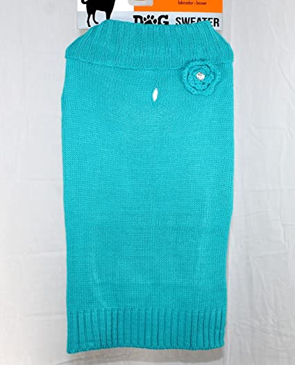 Amazon Com Teal With Flower Dog Sweater Knit Turtle Neck Large