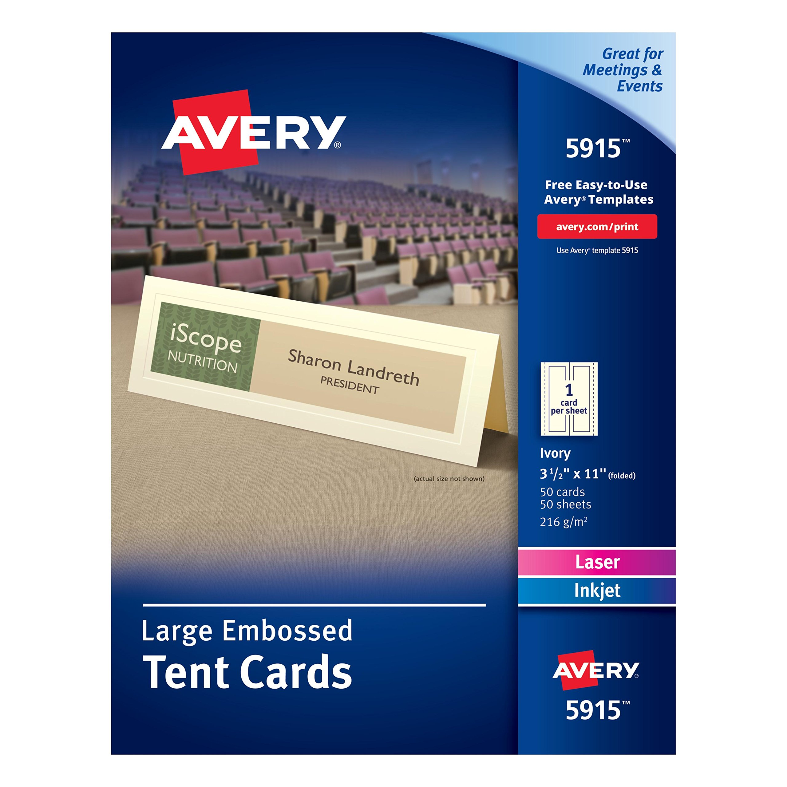 Avery Large Embossed Ivory Tent Cards, Laser/Inkjet Printers, 3-1/2''x11'', Pack of 50 (5915)