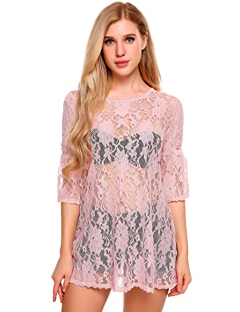 Meaneor Women Floral Lace Crochet Casual Long Sleeve See Through