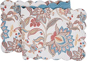 C&F Home Lucianna Cotton Quilted Reversible Table Cotton Machine Washable Runner 1451 Table Runner Aegean