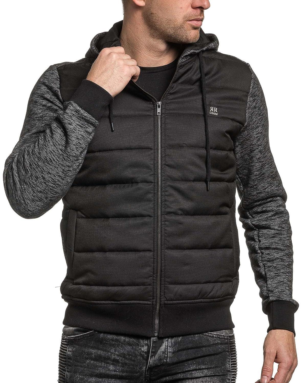 BLZ jeans - Vest zipped hooded man black mottled