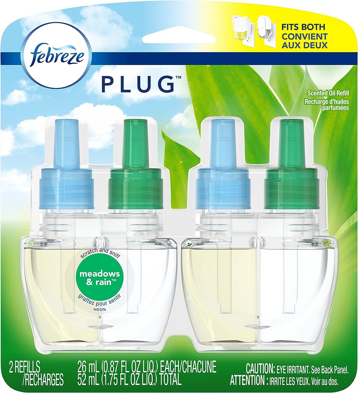Febreze Plug Air Freshener Scented Oil Refill, Gain Meadows & Rain, 2 Count (Packaging May Vary)