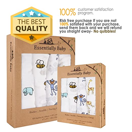 Amazon.com: Bebé de bambú Swaddle Receiving Mantas – Super ...