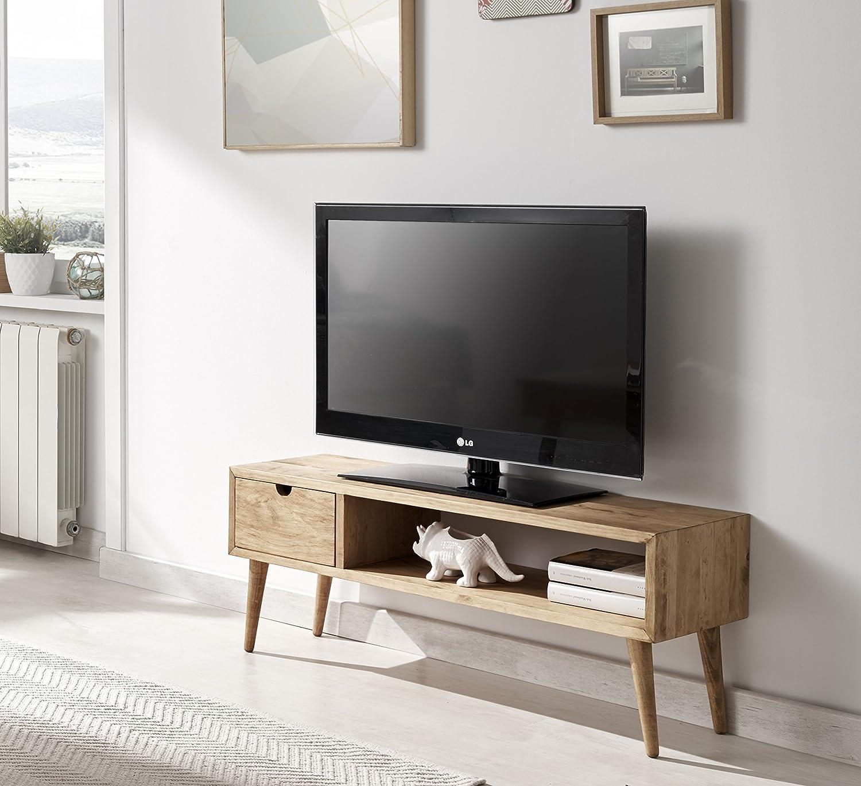 Hogar24.es-Mesa televisión, mueble tv salón diseño vintage, cajón y ...