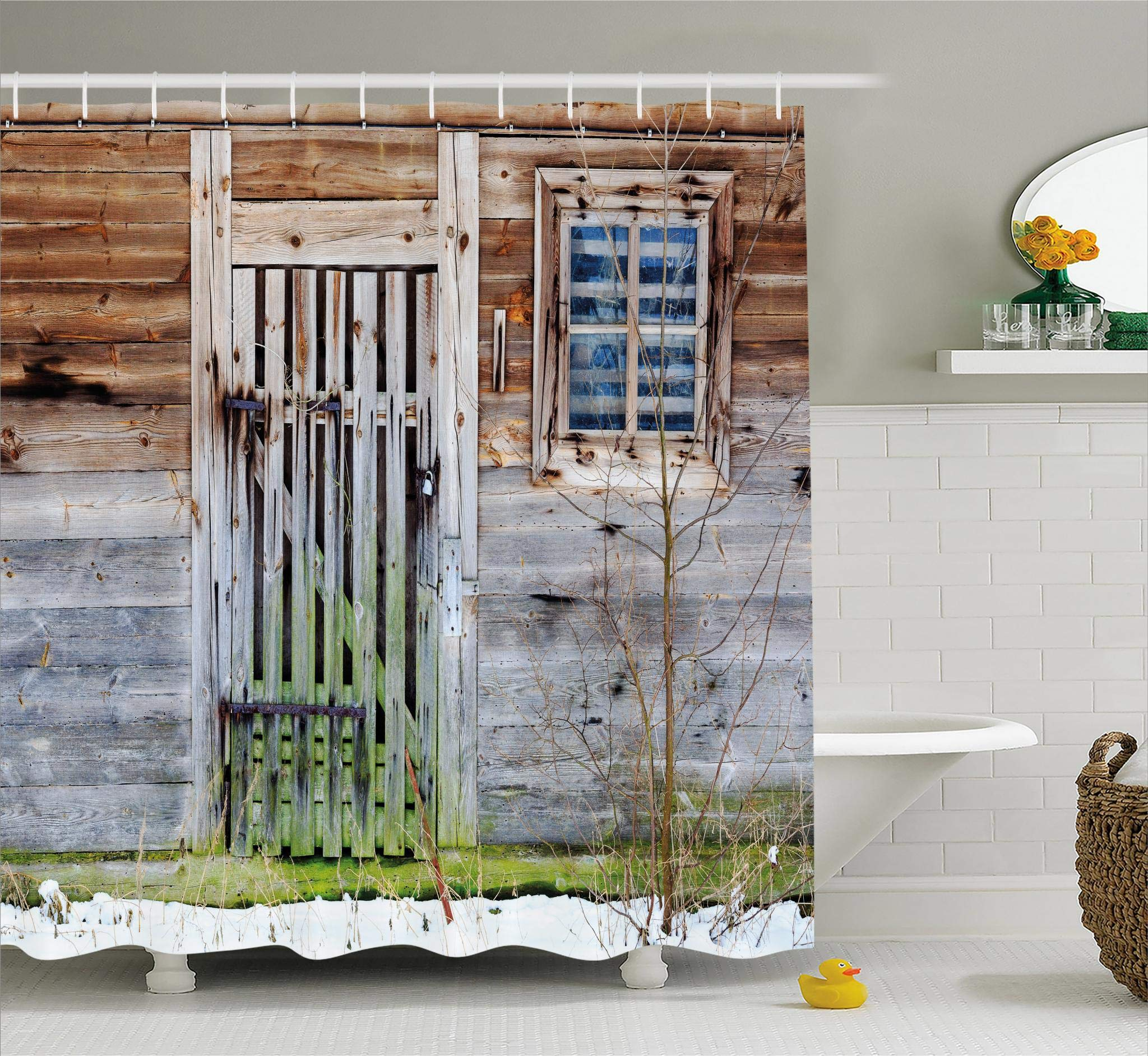 Ambesonne Primitive Country Decor Shower Curtain, Neglected Old Farmhouse Rustic Wooden Door and Window Rural, Fabric Bathroom Decor Set with Hooks, 70 Inches, Brown Green Silver