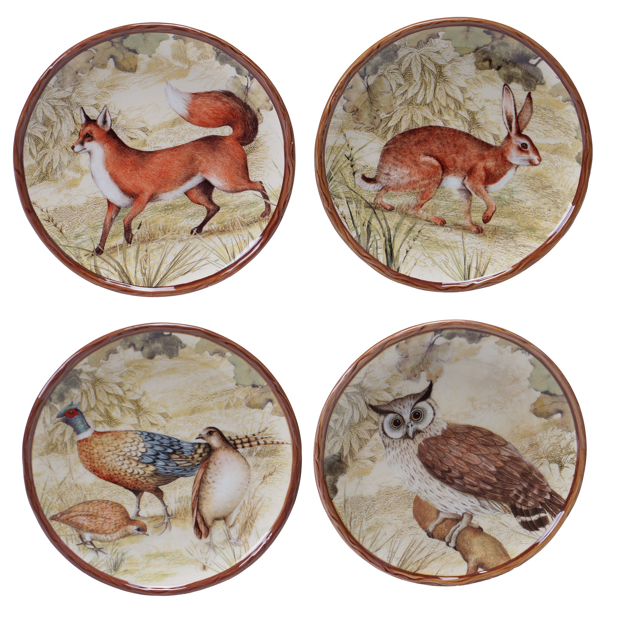 Certified International 25711SET/4 Rustic Nature Canape Plates (Set of 4), 6'', Multicolor