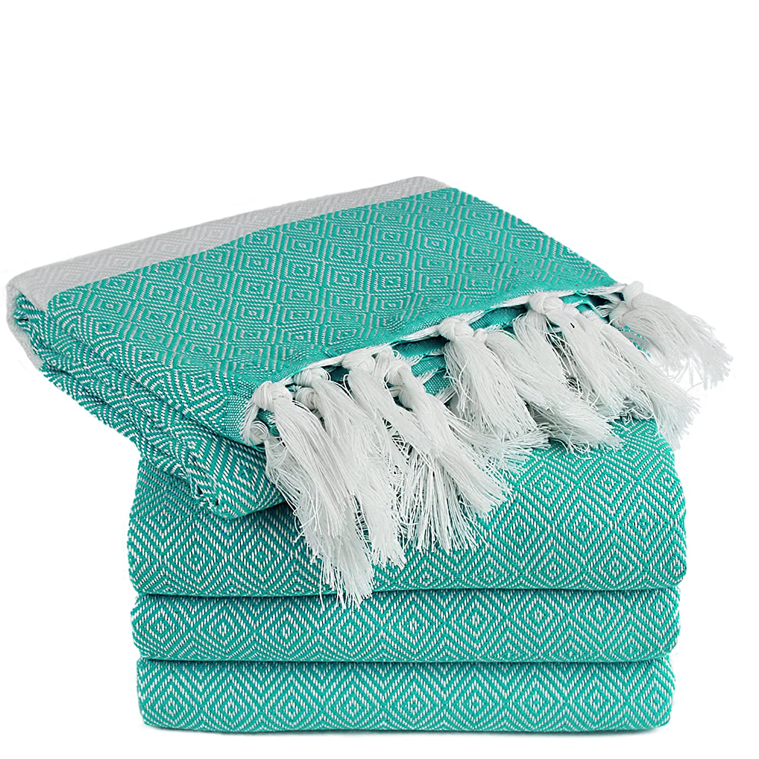 TURKUOISE TURKISH TOWEL Turkuoise Peshtemal - Genuine Flat Woven Turkish Towel - Pareo - Sarong - Picnic Blanket - Yoga Mat - Fouta (100% Cotton) (Diamond-Set of 4(Aqua))