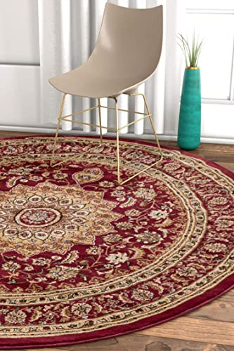Well Woven Sultan Medallion Red Oriental 8 Round 7 10 Round Area Rug Persian Floral Formal Traditional Area Rug Easy Clean Stain Fade Resistant Shed Free Modern Classic Thick Soft Plush Rug