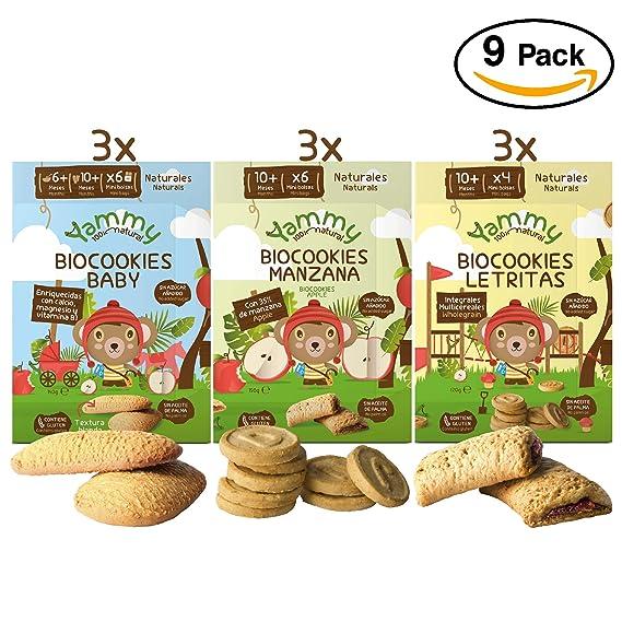 Yammy, Pack Galletas Ecológicas Bebé, Sabores Variados - 9 de 150 gr. (