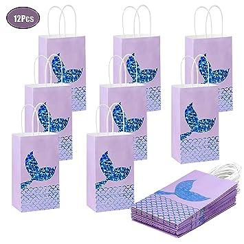 FT-SHOP Bolsas de Regalo 12 Piezas Bolsas Papel Kraft Sirena con Asas para Niños Niñas Fiesta de Cumpleaños Temática de Sirena 11 x 8 x 20cm