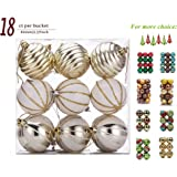"""SANNO 18ct Christmas Balls Delicate Painting & Glittering Ornaments White/Silver/Gold Shatterproof for Holiday Wedding Party Decoration, 60mm/2.36"""""""