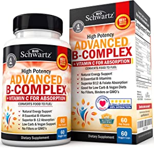 High Potency Vitamin B Complex with Vitamin C for Maximum Absorption - All 8 B Vitamins for Immune & Energy Support - B1, B2, B3, B5, B6, B7, B9, B12 & Folic Acid- 60 Veggie Capsules