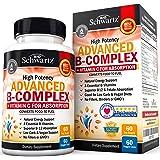 High Potency Vitamin B Complex with Vitamin C for Maximum Absorption - All 8 B Vitamins for Immune & Energy Support - B1, B2, B3, B5, B6, B7, B9, B12 & Folic Acid- 60 Veggie Capsules