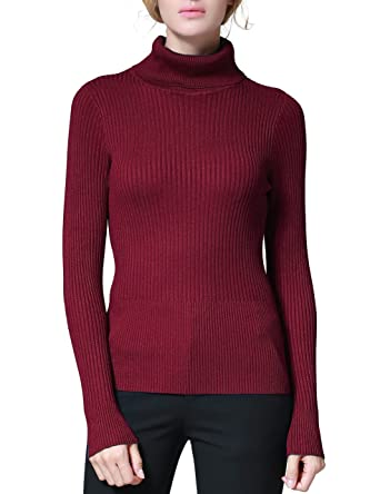 5d42d7edf84 PrettyGuide Women s Ribbed Turtleneck Long Sleeve Sweater Tops at Amazon  Women s Clothing store
