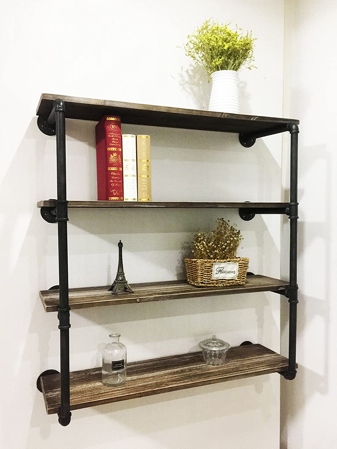 Amazon Com Wgx Industrial Bookcase Pipe Wood Wall Shelves