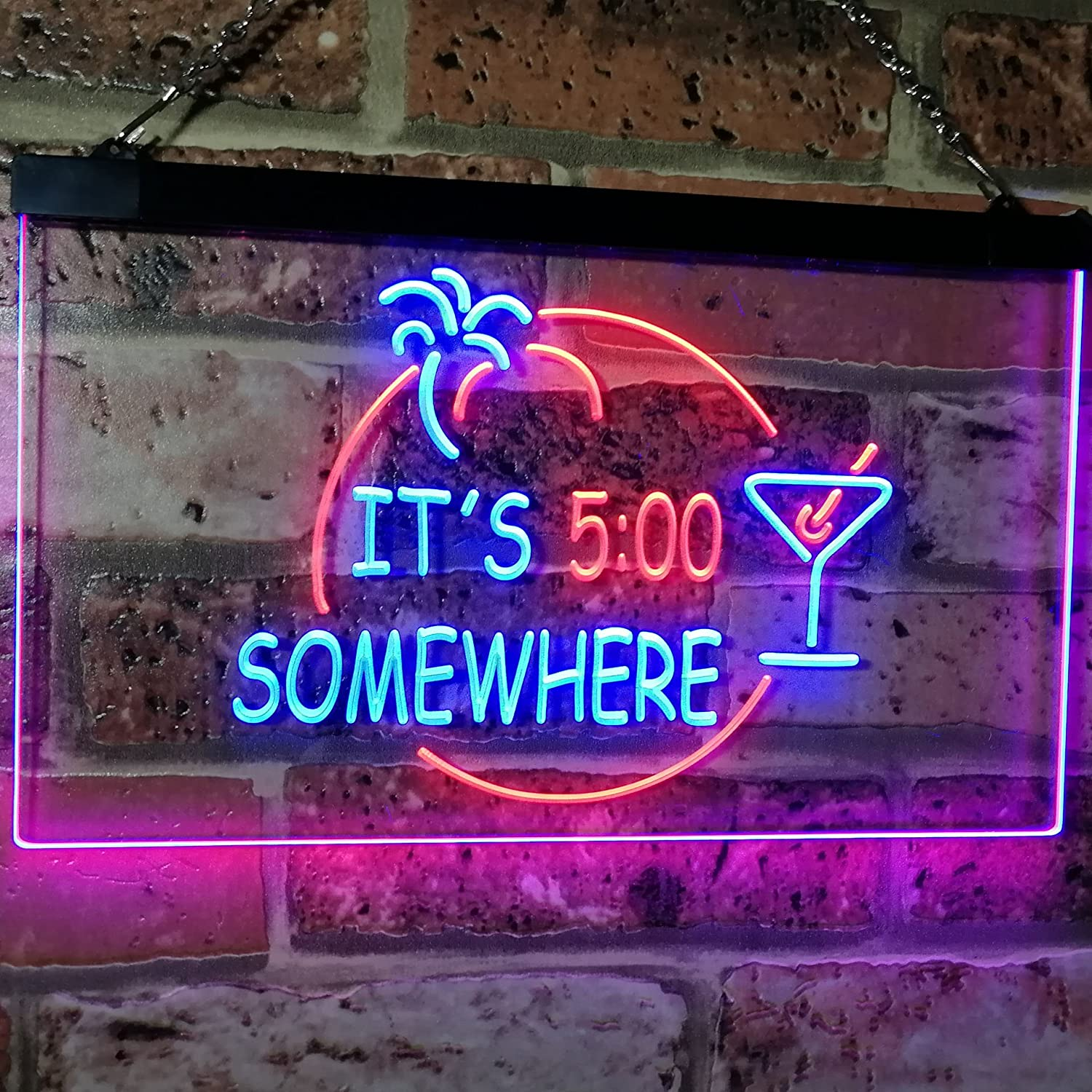 AdvpPro 2C It's 5 pm Somewhere Bar Beer Cocktails Dual Color LED Neon Sign Red & Yellow 300mm x 210mm st6s32-i2090-ry ADVPRO