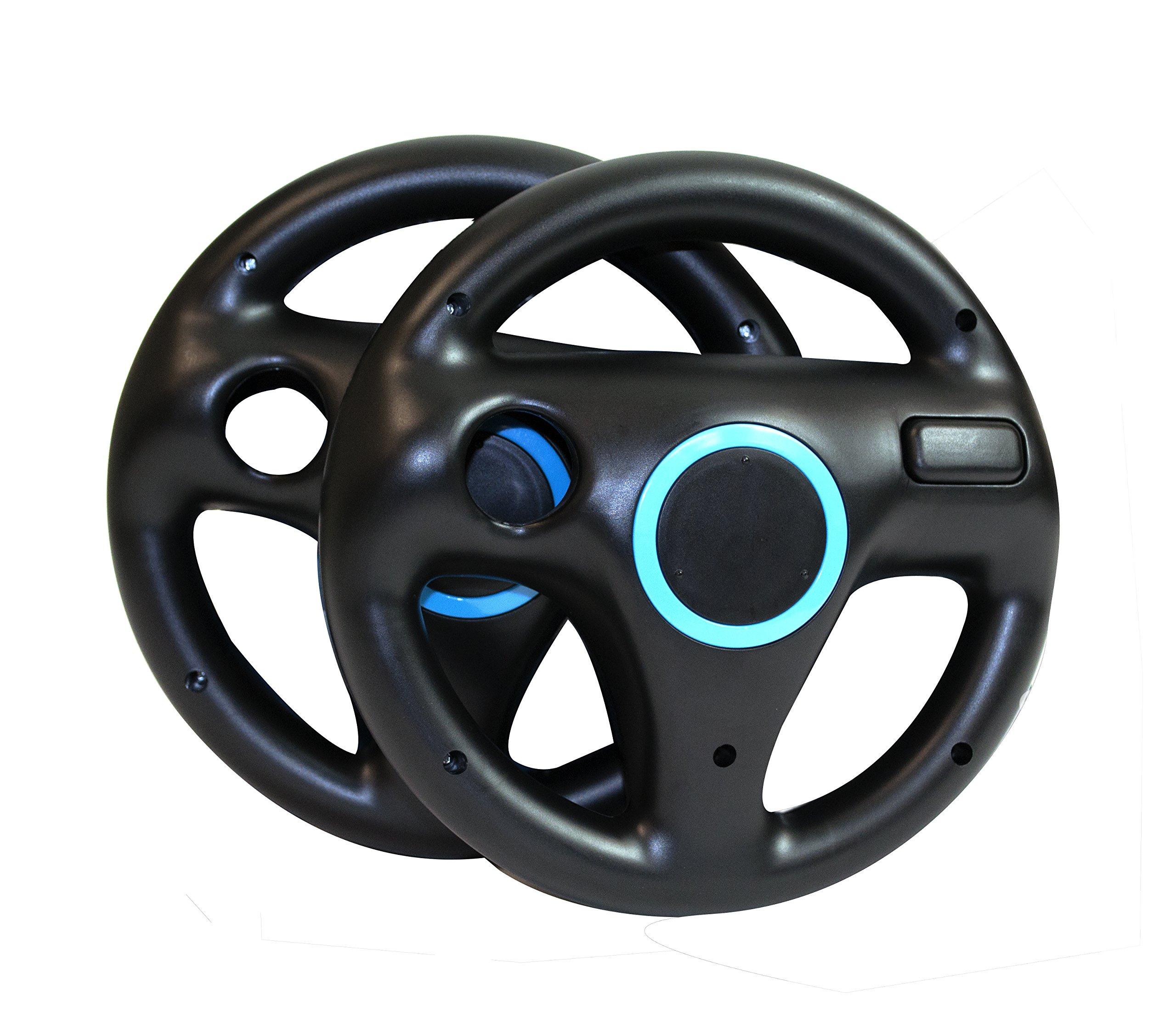 Beastron Mario Kart Racing Wheel for Nintendo Wii, 2 Sets Black Color Bundle