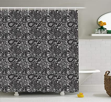 Ambesonne Paisley Shower Curtain Oriental Themed Symbol Asian Pattern With Traditional Elements Lace Like Design