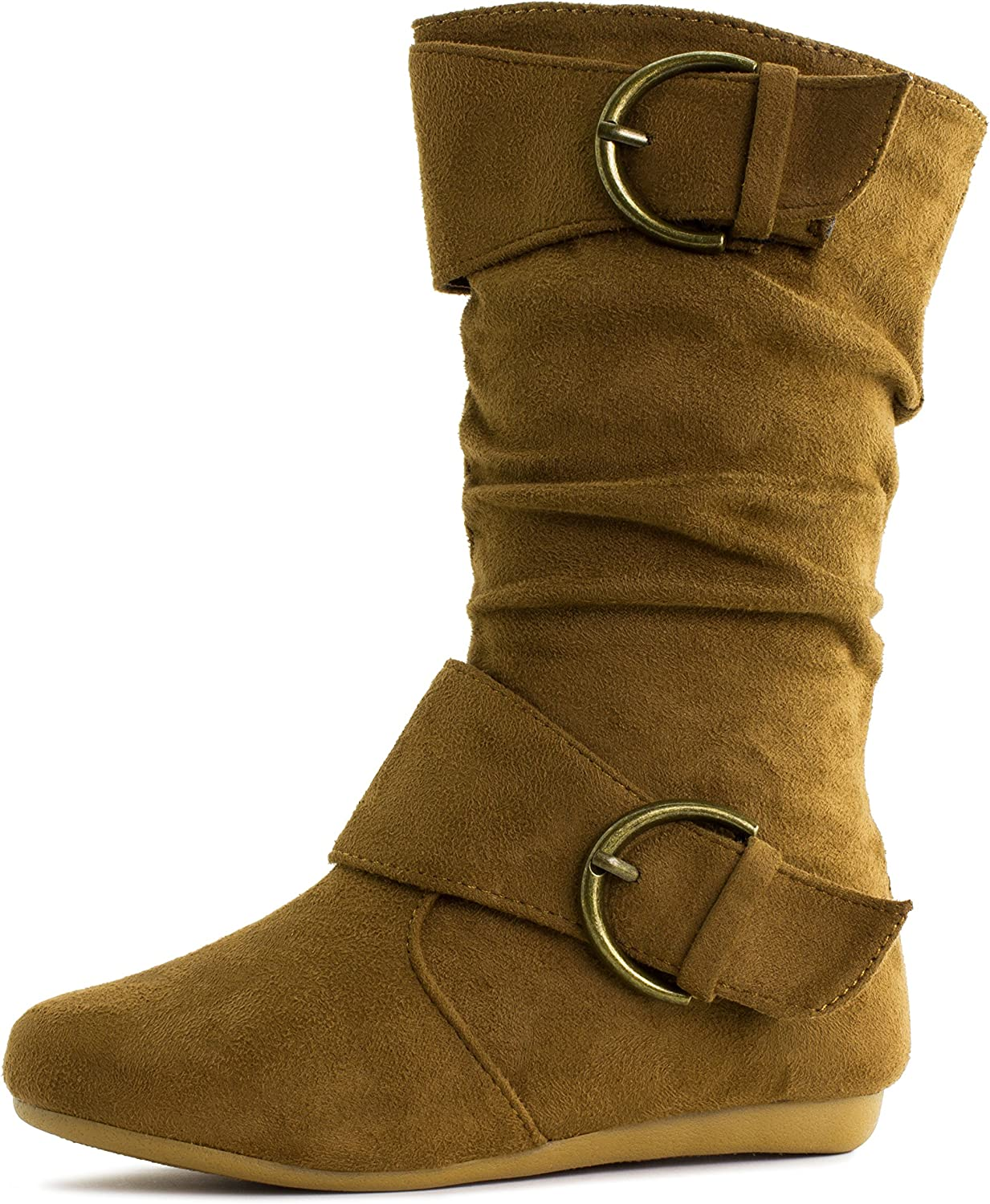 New Toddler Flat Slouchy Mid Calf Casual Dress Boots Withe /& Tan Sizes 4-8 US
