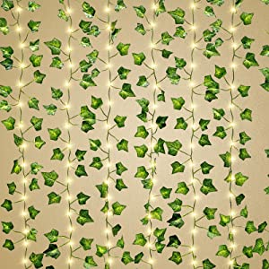 TURNMEON 12 Pack 84Ft Artificial Ivy Leaf Vine with 240 Led 8 Mode Timer Waterproof Curtain Lights, Fake Plants Silk Vine Hanging Garland Greenery Bedroom Home Wedding Wall Room Decor, Each 7Ft 20Led