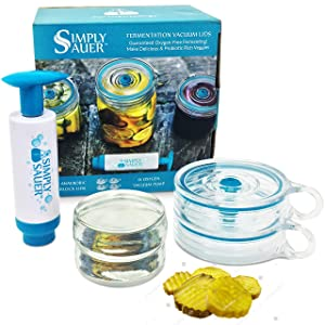 Fermentology Simply Sauer Fermentation Starter Kit - Fits Wide Mouth Mason Jars - Supplies Include Weights, Lids, Pump