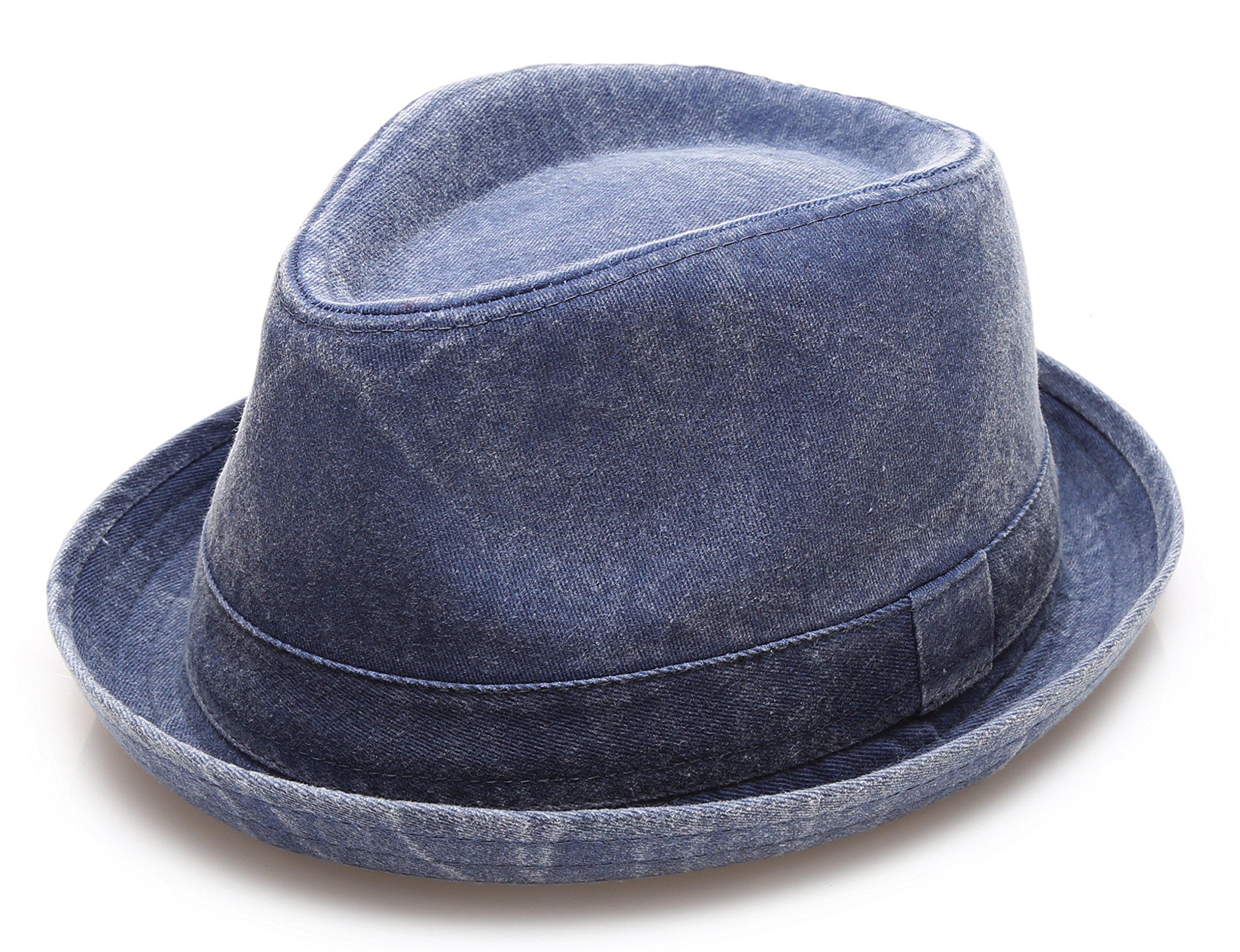 Men's Denim Washed Cotton Casual Vintage Style Fedora Sun Hat (Denim,ML)
