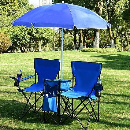 Muebles Terraza 3 PCS 2 Sillas Y 1 Sobrilla Azul para Patio Playa Picnic Acampa Pescar