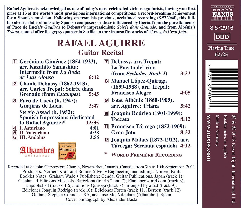 Guitar Recital: Debussy,De Lucia,Rodrigo: Rafael Aguirre: Amazon ...