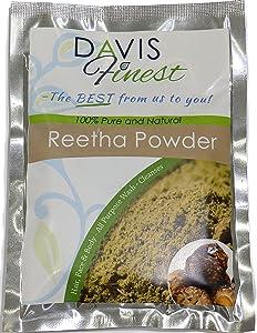 Davis Finest Reetha Aritha Soapberry Soapnut Powder for Hair, Dry Scalp & Skin, Deep Cleansing Shampoo Shine Conditioner, Pure Natural Vegan Soap Cleanser, No SLS 100g