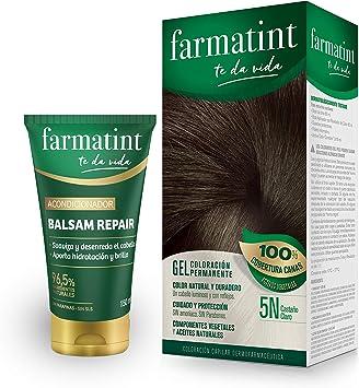 Pack Farmatint - Tinte 5N Castaño Claro + Acondicionador reparador - Color natural y duradero - Componentes vegetales y aceites naturales - Sin ...