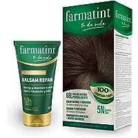 Pack Farmatint - Tinte 5N Castaño Claro + Acondicionador reparador - Color natural y duradero - Componentes vegetales y…