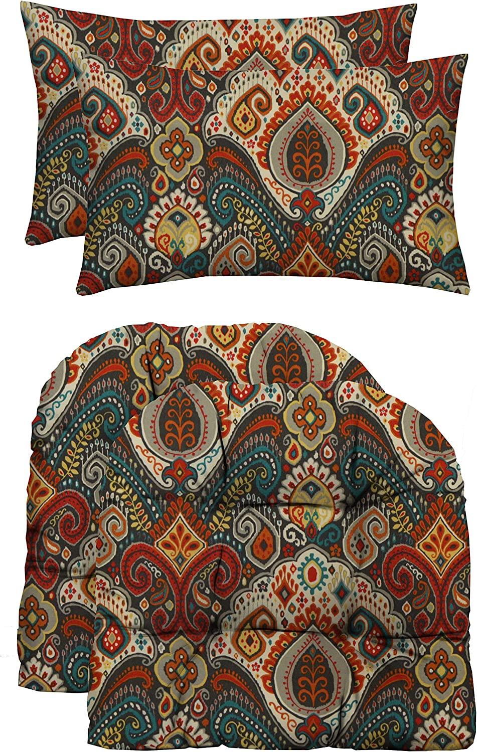 RSH Décor Indoor Outdoor Decorative Tufted U-Shape Chair Cushions & Bonus Pillows for Wicker Furniture (2 - (21