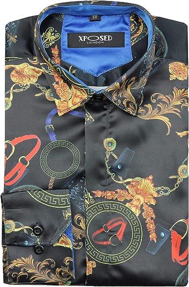 XPOSED - Camisa de satén para hombre, estilo retro, con impresión de estilo informal: Amazon.es: Ropa y accesorios