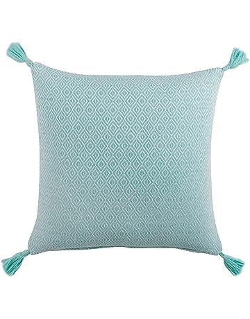 Douceur d Intérieur Merina Funda cojín Pompones, algodón, Verde Menta, 40 x