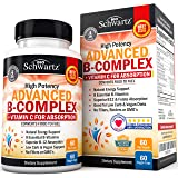 High Potency Vitamin B Complex with Vitamin C for Maximum Absorption - All 8 B Vitamins for Immune & Energy Support - B1, B2,