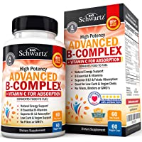 High Potency Vitamin B Complex with Vitamin C for Maximum Absorption - All 8 B Vitamins...