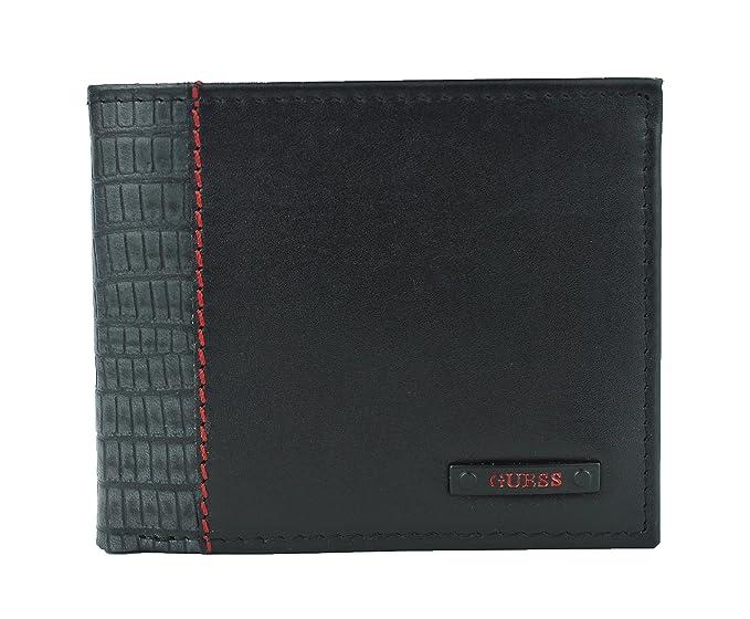 GUESS Nuevo Hombre Bailey suave piel de color negro Passcase doble BillFold Wallet: Amazon.es: Ropa y accesorios