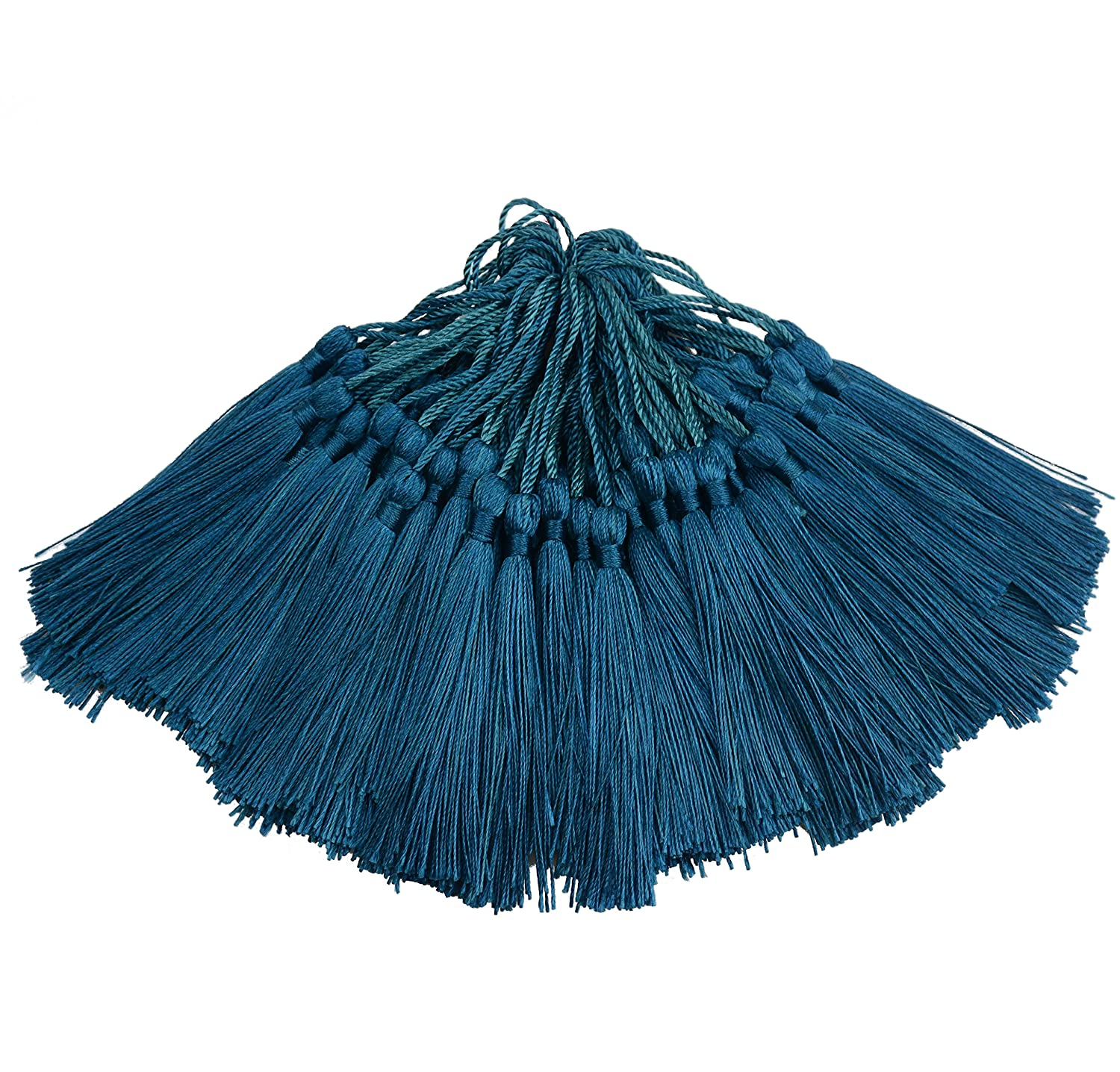 100pcs 13cm/5 Inch Silky Floss Bookmark Tassels with 2-Inch Cord Loop and Small Chinese Knot for Jewelry Making, Souvenir, Bookmarks, DIY Craft Accessory (Champange) Makhry mk-tassel#47 eu