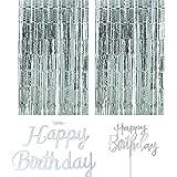 Trebati Kit Decoracion cumpleaños Cortinas para Fiesta metalicas con Letrero Happy Birthday y Cake Topper Happy Birthday (Fel