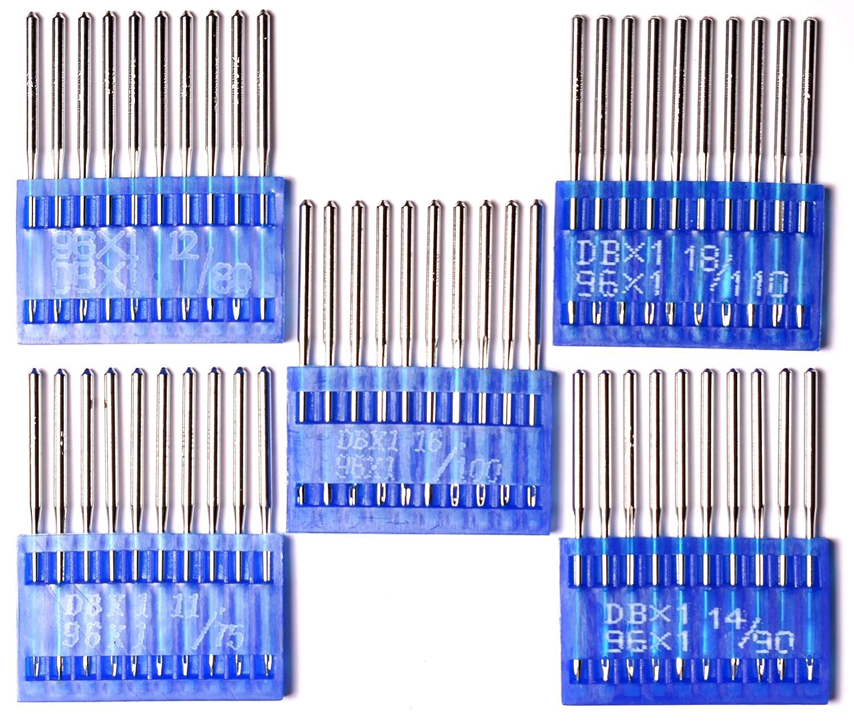 Industrial Sewing Machine Needles Round Shank DBX1 75//11 80//12 90//14 100//16 110//18 Set of 50