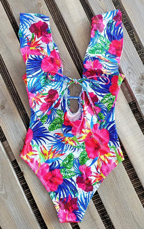 Sporlike Women One Piece Swimsuit V-Neck Ruffle Bathing Suit Padded Monokini