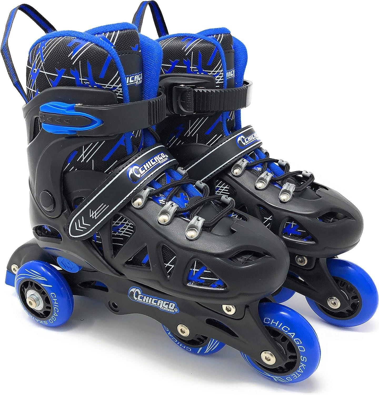 Blue Chicago Skates Boys Inline Training Skate Combo Set Medium Sizes 1-4