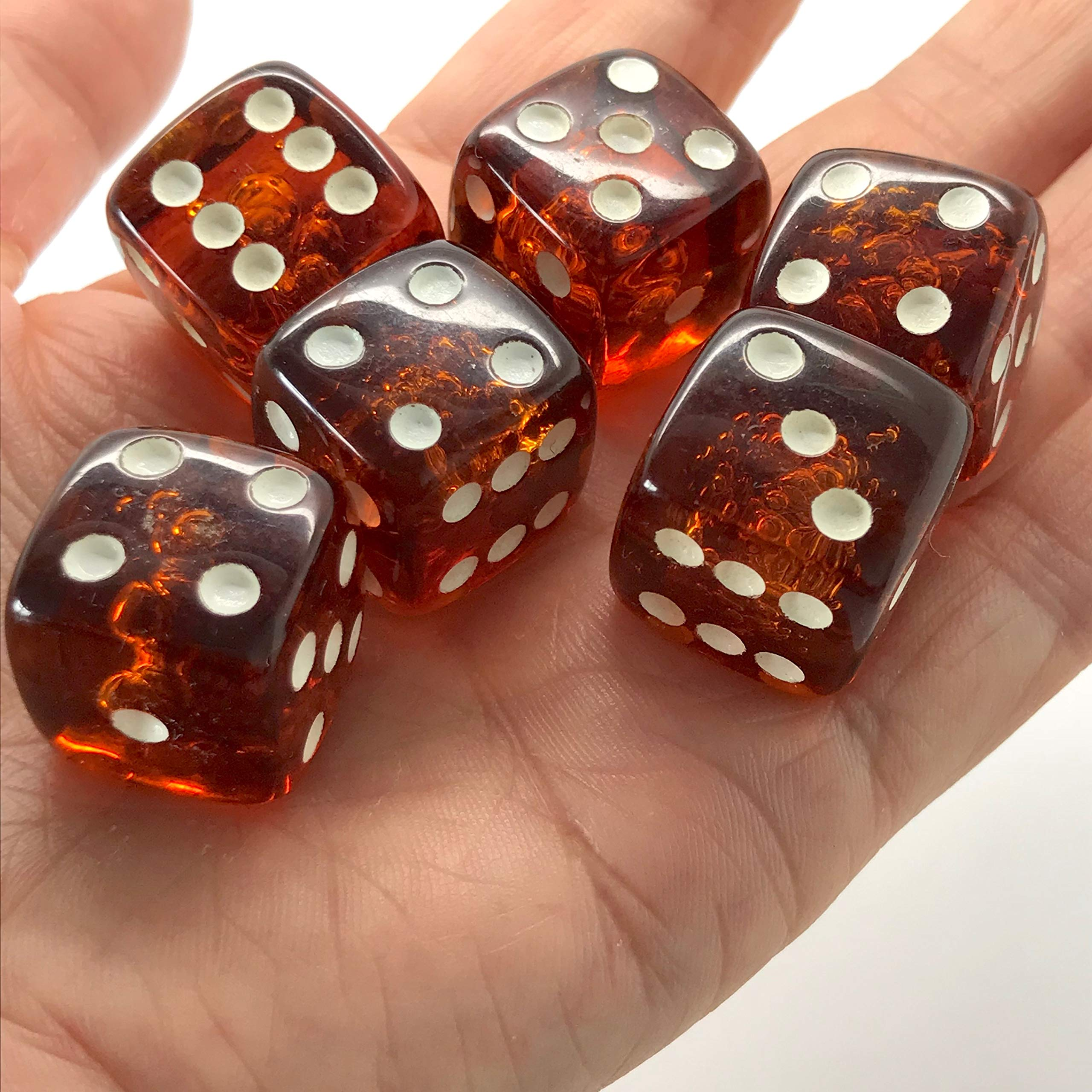 x6 Proper size Amber Dice set for Board games and Gambling by Generic (Image #5)