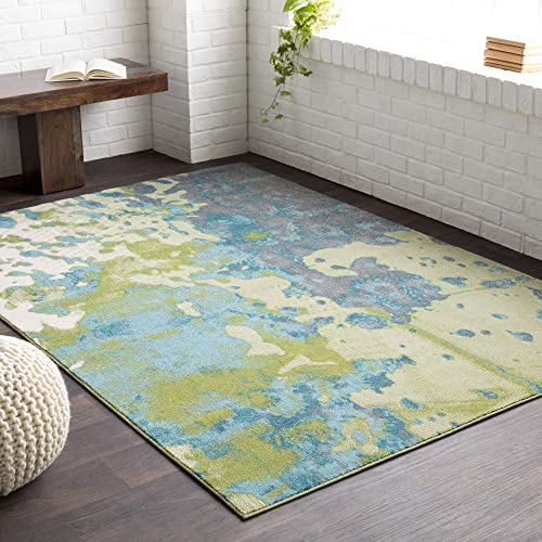 Lola Olive and Teal Modern Area Rug 7'10″ x 10'6″
